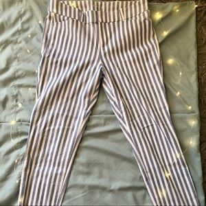 White and Blue Striped Slacks